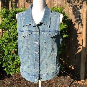 Style & Co. Rhinestone Studded Jean Vest   D113